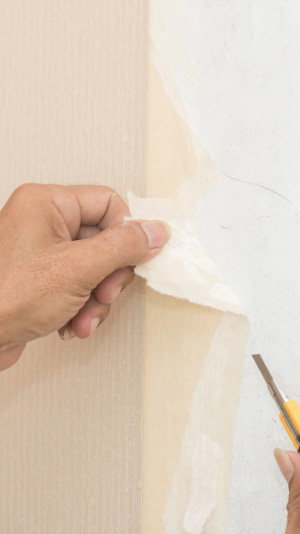 Close up of a hand peeling off a strip of taupe colored wallpaper as a part of the wallpaper removal process